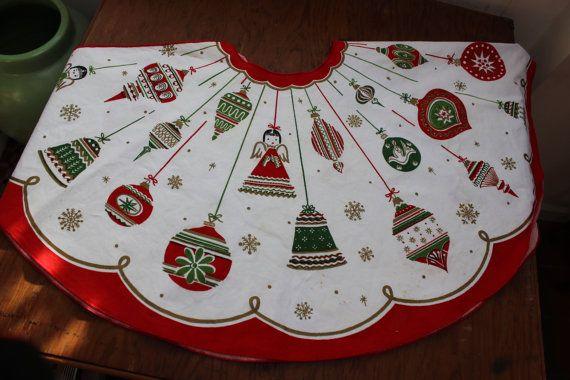 Christmas tree Skirt Shiny Brite Ornaments Angle Snowflake VINTAGE