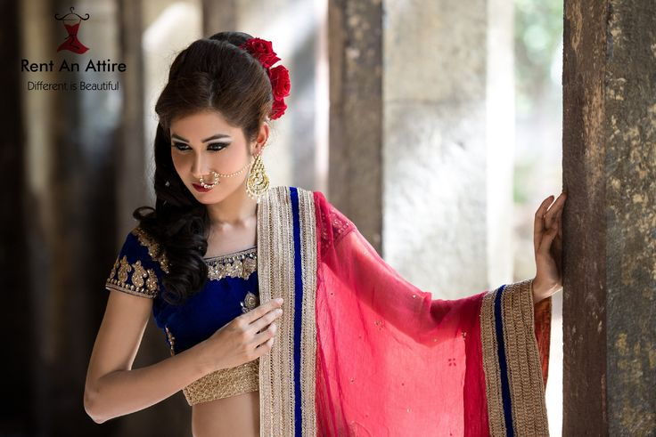 Bridal wear isn't just about reds anymore, it is about playing with colors & bringing out a modern bride's style. Introducing royal blue velvet lehenga paired with a red chiffon dupatta.. So you beautiful brides! Amplify your look with our classy bridal collection and make your day memorable.. #Bridalwear #Designerwear #Royal #Velvet #Lehenga #Gold #Embroidery #IndianFashion #RentAnAttire #TryitBookitFlauntit #HappyRenting #Differentisbeautiful
