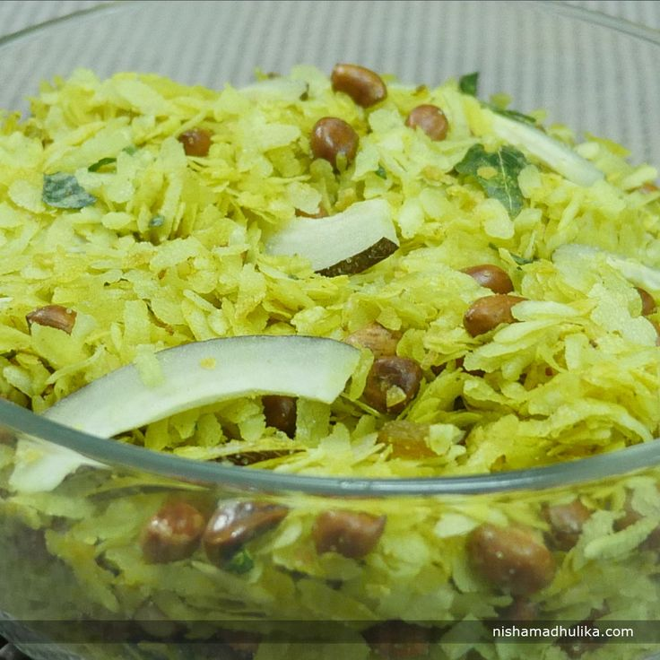 Roasted Poha namkeen prepared with very less oil is really scrumptious to eat and it can be prepared very easily and instantly.  Recipe in English- http://indiangoodfood.com/362-roasted-poha-namkeen.html ( copy and paste link into browser)  Recipe in Hindi- http://nishamadhulika.com/1345-roasted-poha-namkeen-recipe.html ( copy and paste link into browser)