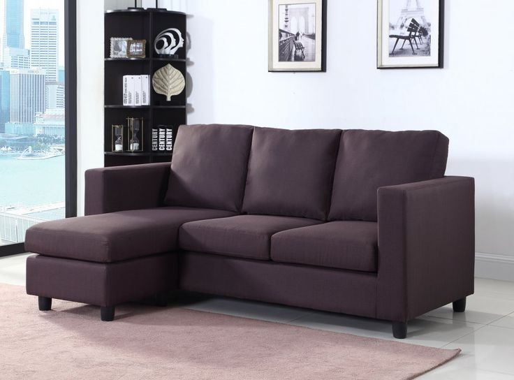 Newport Brown Linen Small Condo Apartment Sized Sectional Sofa with Left Facing Chaise by Urban Cali : sectionals for condos - Sectionals, Sofas & Couches