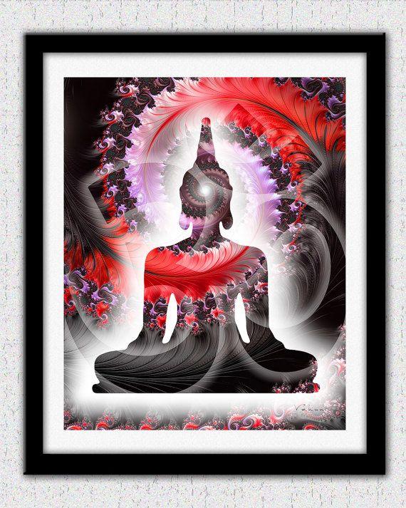 Buddha print red Buddha art print red black by theartofthematrix