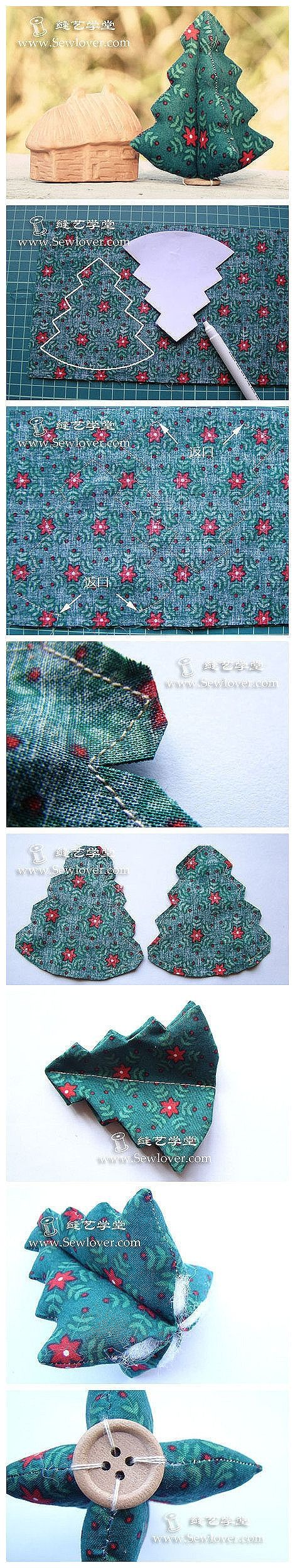 How to sew cute fabric Christmas trees step by step DIY tutorial instructions, How to, how to do, diy instructions, crafts, do it yourself, ...