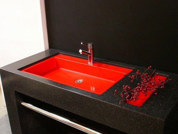 Черная Красная раковина для ванной из искусственного акрилового камня. Акриловый камень и дизайн дома, интерьера, квартиры, ванной комнаты. Раковина под заказ в Москве WhatsApp: 8-964-644-86-08 (Russia)