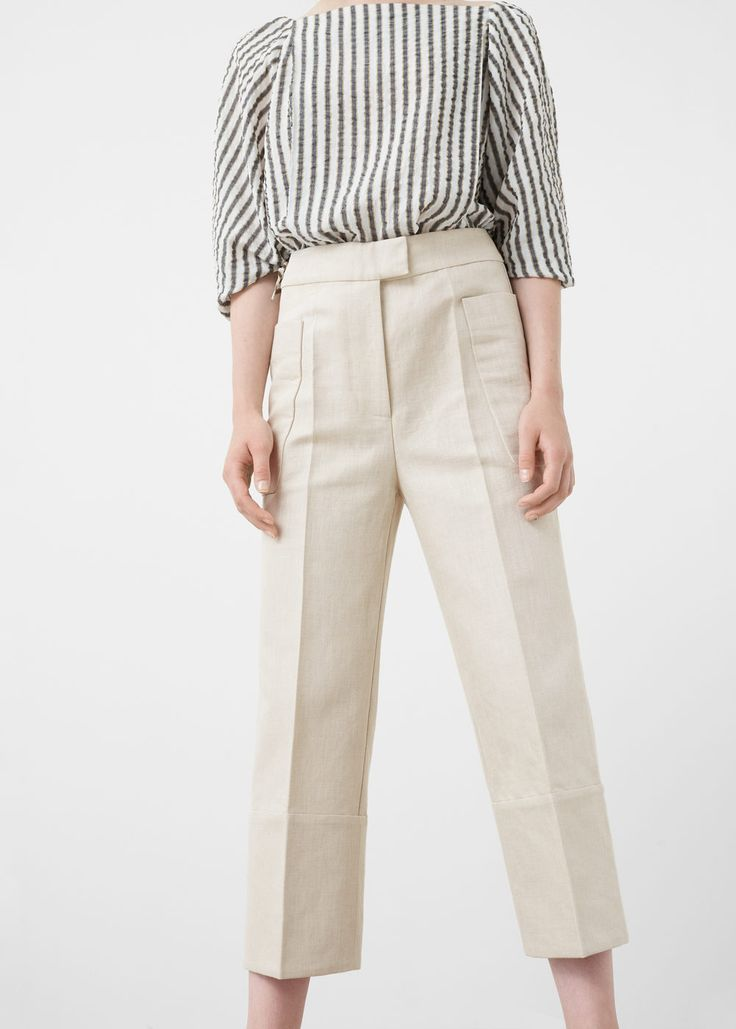 Premium - cropped linen-blend trousers - Pants for Women | MANGO USA
