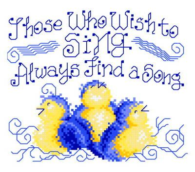 Find a Song - Inspirational cross stitch pattern designed by Ursula Michael. Category: Sayings.