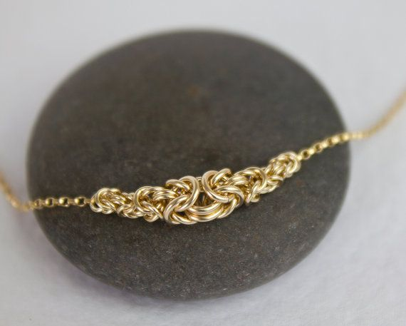 Gold Chain Bracelet Gold-Filled Elegant Byzantine Handwoven Chainmaille Bridesmaid Jewelry Exquisite Simple Lobster Claw Clasp All Sizes