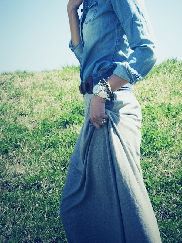 denim shirt + maxi skirt + watch and stacked bracelets = <3