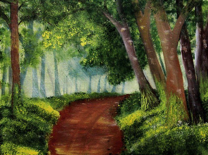 Country Path by Manju B Raj.To view more of her painting , please visit manjuspaintingadventures.blogspot.in. #paintings #acrylicsoncanvas #landscapepainting #art #acrylicspainting #meadow #meadowpainting #path