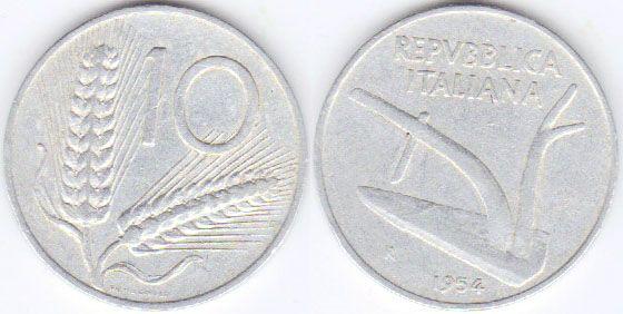"""Lira italiana (1861-2001) (x) 10 liras (1951-2001) O: um arado e em italiano """"República italiana""""/R: dois ramos de trigo e o valor."""