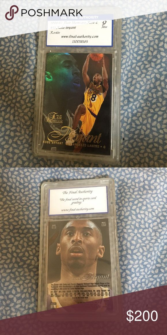 Rare Rookie Year Kobe Bryant Flair Showcase Card Card protector around it. From his rookie year Other
