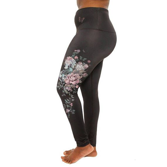 Ethical activewear Gray tights Flowers leggings Eco