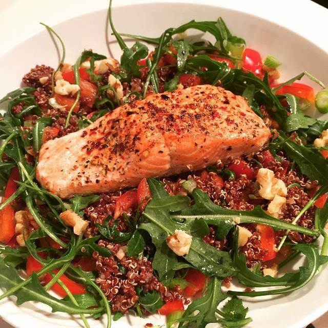Salmon cooked in Lucy Bee Coconut oil with quinoa and salad. #LeanIn15 #Fitness #Nutrition #Food