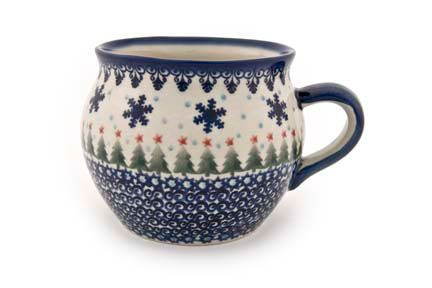 Winter Wonderland Bubble Mug - Blue Rose Polish Pottery