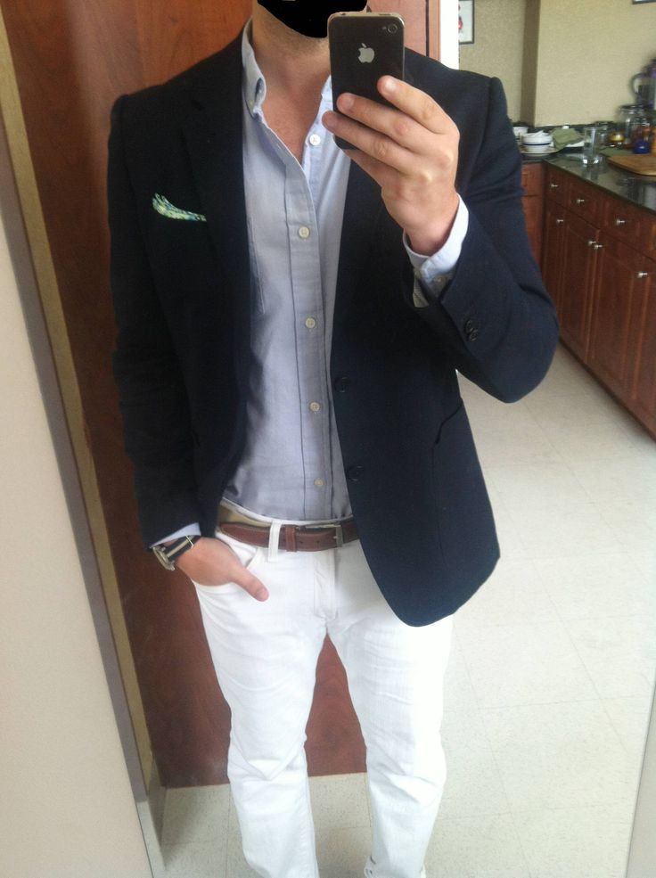 Shop this look for $205:  http://lookastic.com/men/looks/jeans-and-blazer-and-longsleeve-shirt-and-belt-and-pocket-square/2116  — White Jeans  — Navy Blazer  — Light Violet Longsleeve Shirt  — Brown Leather Belt  — Mint Pocket Square