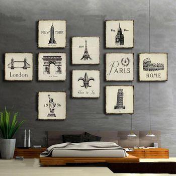 Warm te koop! Klassieke fotolijst plaat kunst aan de muur decration, fleur de lis, new york, london, big ben, eiffel tower, rome, standbeeld van de vrijheid