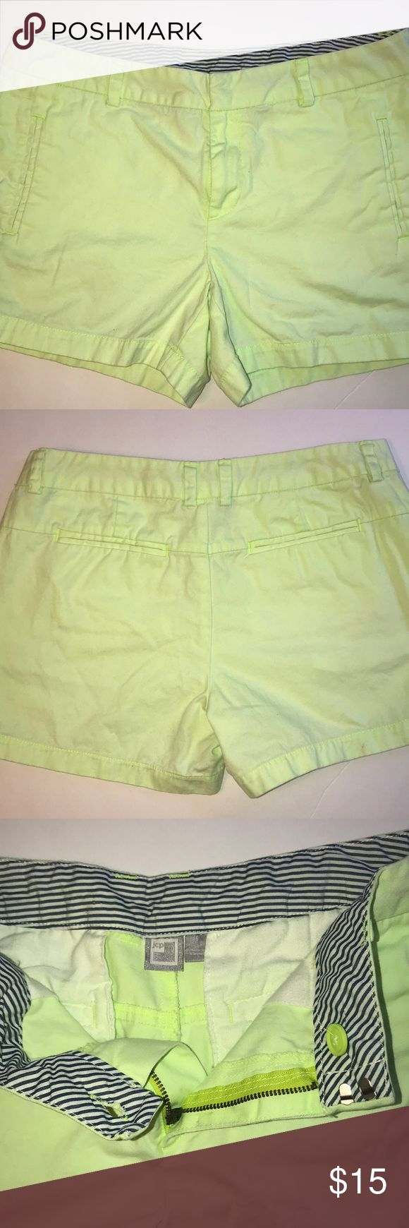 """Jc Penney Lime Green Shorts size 6 Adorable Jc Penney lime green shorts. These are not a super bright highlighter lime green. Just enough to possibly dress up or down. Navy striped interior waistband.   Waist: 17"""" Inseam: 4.5""""  Rise: 9.5"""" jcpenney Shorts"""
