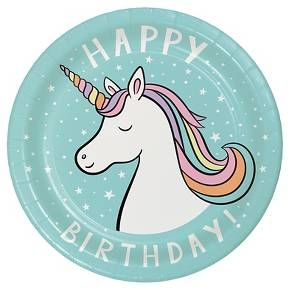 """Happy Birthday"" Unicorn Disposable Plates 10 Count - Spritz : Target"