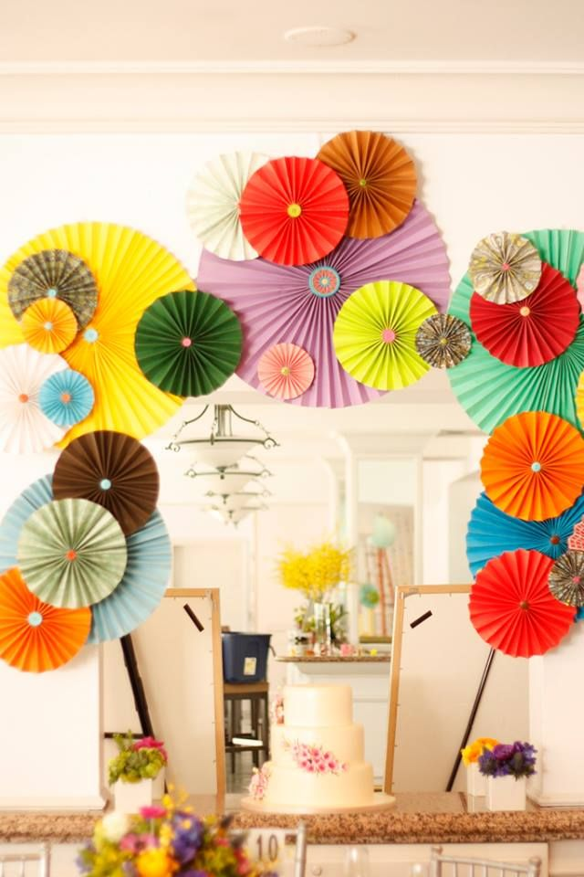 colorful rosettes backdop