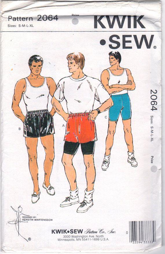 Kwik Sew 2064 Mens Pull On Shorts Pattern Spandex Bike