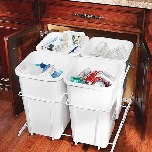 4. Well Designed Disposal.  Trash and recycling fill up quickly in kitchens, so rather than purchasing freestanding bins, dedicate or convert a cabinet into dual purpose trash and recycling center.