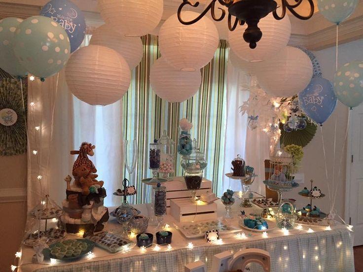 Mesa para baby shower  Ideas para fiestas con luces