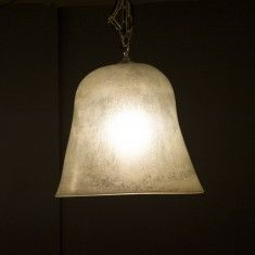 C19TH FRENCH MELON CLOCHE NOW ELECTRIFIED MOUNTED ON NICKEL PLATED BRASS MADE INTO A PENDANT LIGHT H600 L420 D420