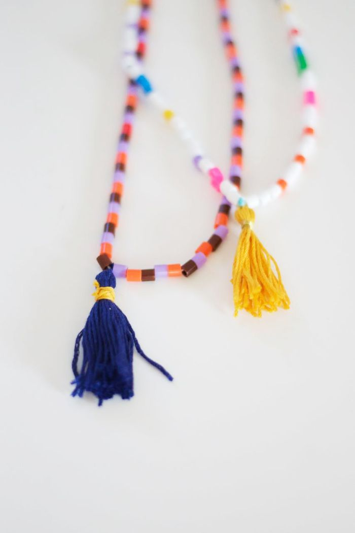 Bloesem Kids | DIY Hama bead and tassel necklace