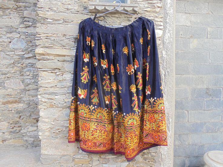 Beautiful Genuine Vintage Rabari Gypsy Tribal Silk Satin Skirt with Silk Embroidery. by LallibhaiIndia on Etsy
