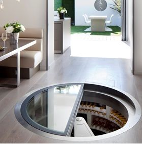 White Spiral Cellar in the entertaining space of a house