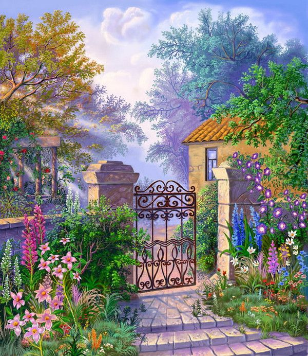 Flower Garden Paintings 1504 best cottage garden and landscape art images on pinterest