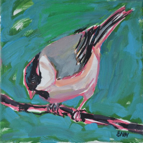 Original bird oil painting / birds / Marsh Tit / by NielsenDenmark