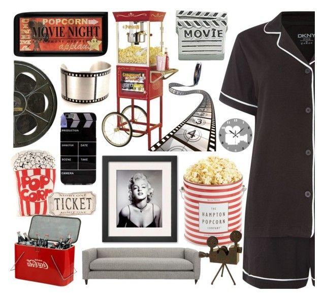 """#14  Movie night"" by alzbeta-zlochova ❤ liked on Polyvore featuring DKNY, Spicher and Company, Nostalgia Electrics, Bling Jewelry, CB2, The Hampton Popcorn Company and Dot & Bo"