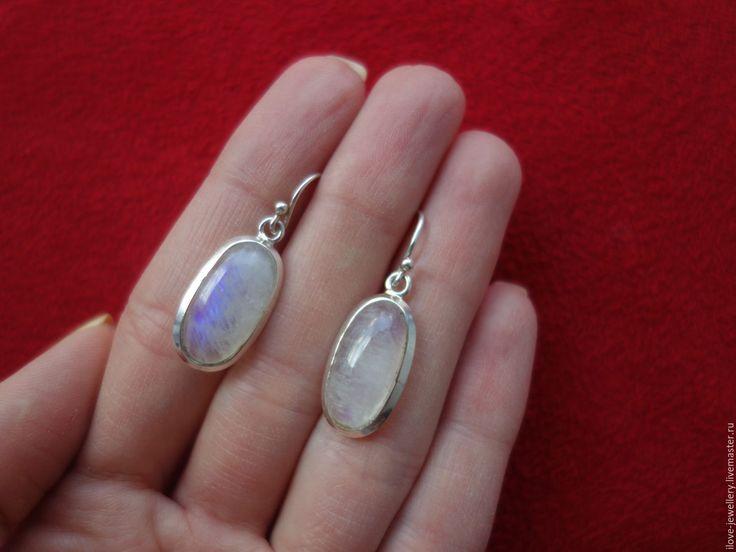 """Купить """"Anais""""-чудесные серебряные серьги с лунным камнем адуляром - белый, адуляр серьги"""