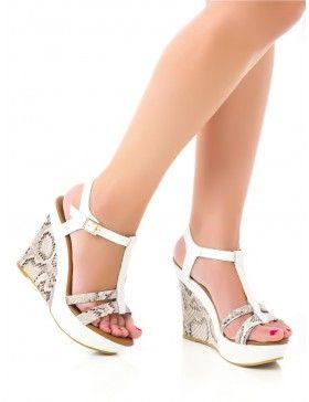 Sandalias Blancas de Cuña Z186