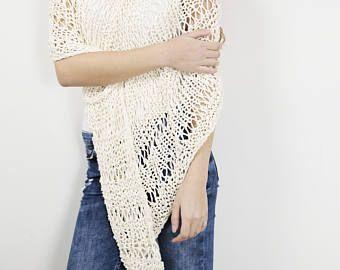Punto de la parte superior poco algodón poncho trigo suéter
