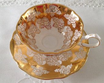 Gold Queen Anne China Tea Cup & Saucer