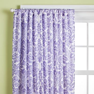 Kids' Curtains: Kids Lavender Wallpaper Floral Print Curtain Panels in All Room Decor