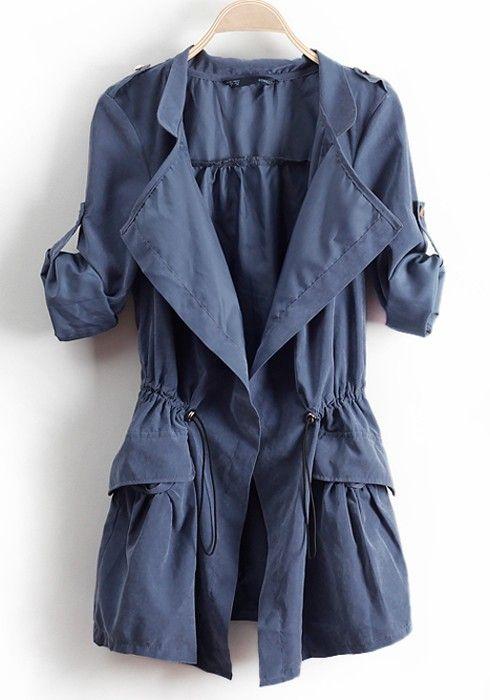Cadet Blue Drawstring Coat