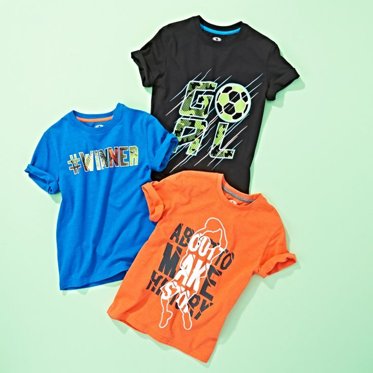 Graphic tees in bright colours from our Athletic Works collection are just what your boys need. #kidsfashion #boysapparel