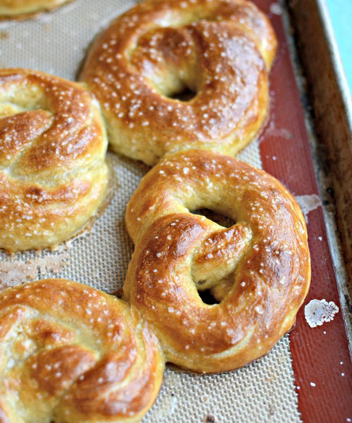 Hot buttered Pretzels. The recipe makes 8 pretzels which is nice because you don't have a million to eat (which I would do, so sometimes it's better to eat one or two and then run out).