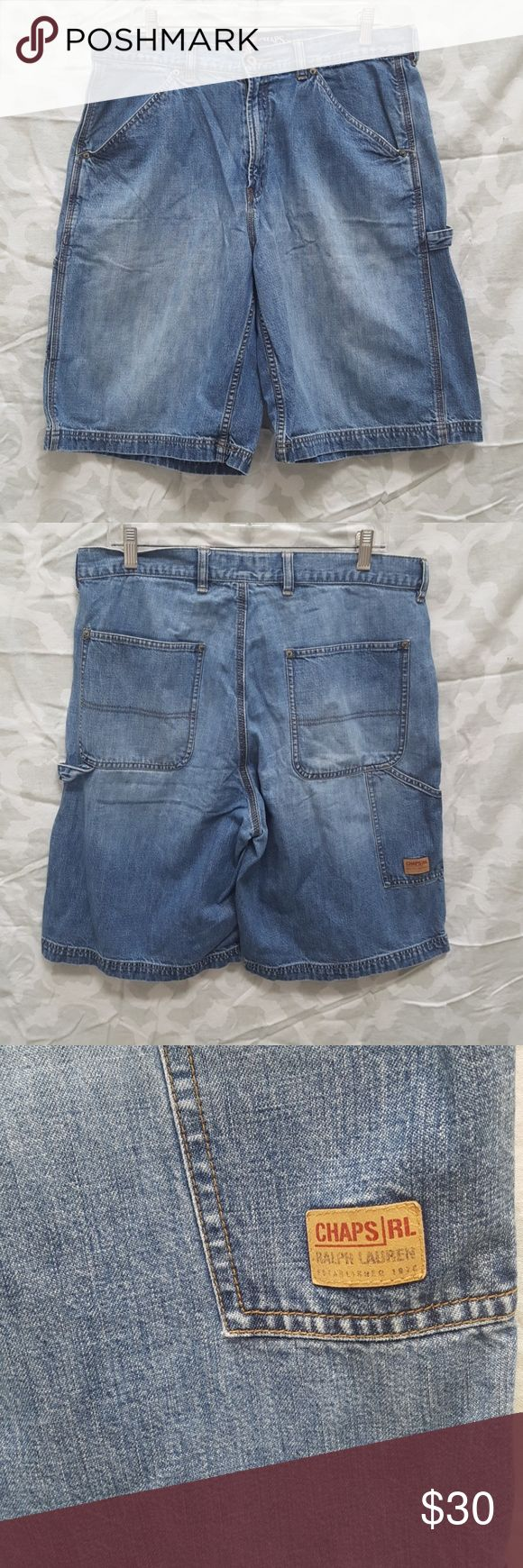 Mens Chaps Ralph Lauren Carpenter Denim Shorts For sale is a used pair of vtg Mens Chaps Ralph Lauren Denim Carpenter Shorts. Waist size 34.   Shorts are in good condition for age.   Offers welcomed using offer button.   NO TRADES.  NO LOWBALLING. Chaps Ralph Lauren Shorts Jean Shorts
