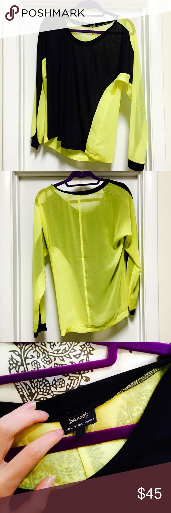 Bardot Long Sleeve Colorblocked long sleeve tee with neon yellow and black. Looks really cool on and is unique. Never worn. Bardot Tops Tees - Long Sleeve