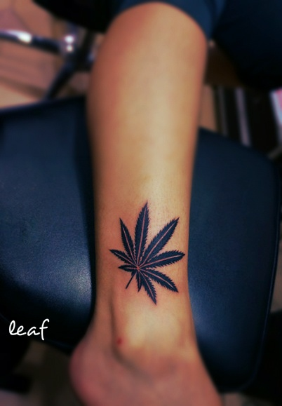 Pot Leaf Tattoo For Girls Weed leaf tattoo design on the