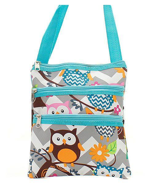 Chevron Stripe Owl Print Small Hipster Messenger Bag Cross Body Shoulder Handbag #Unbranded #MessengerCrossBody