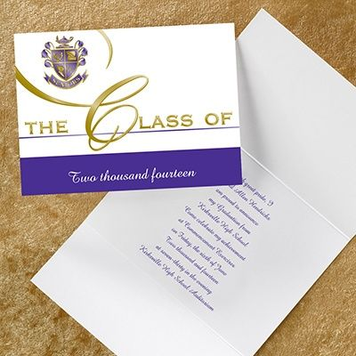 custom classic graduation class announcement share your school colors on this traditional announcement note - Graduation Invitations Pinterest