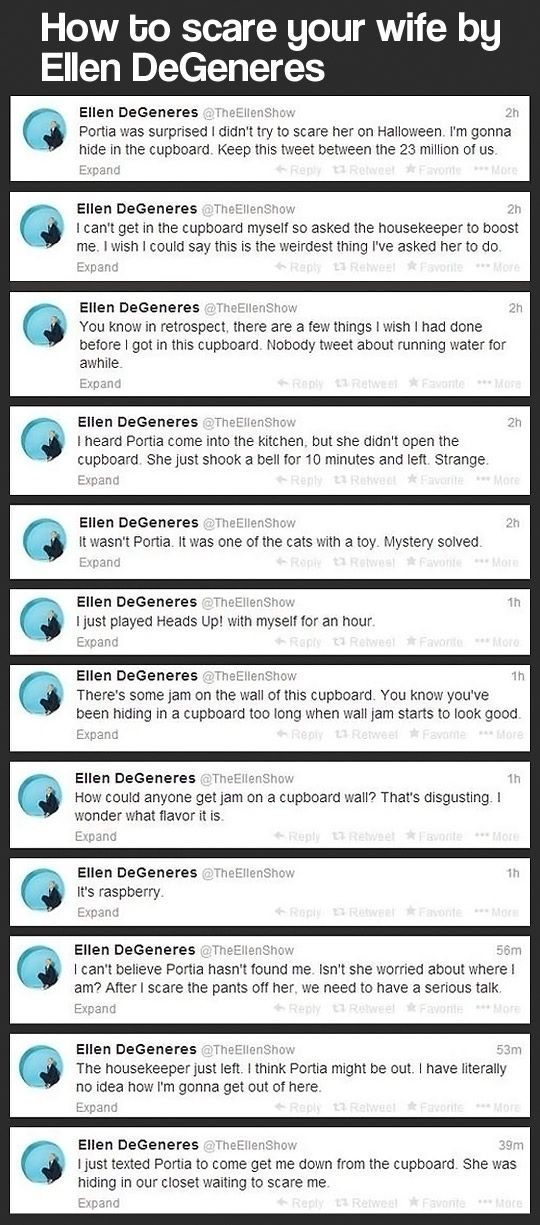 Ellen DeGeneres twitter funny - i actually remember reading these on my twitter stream