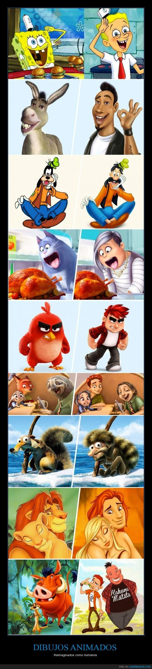13 caracteres animados reimaginados como humanos
