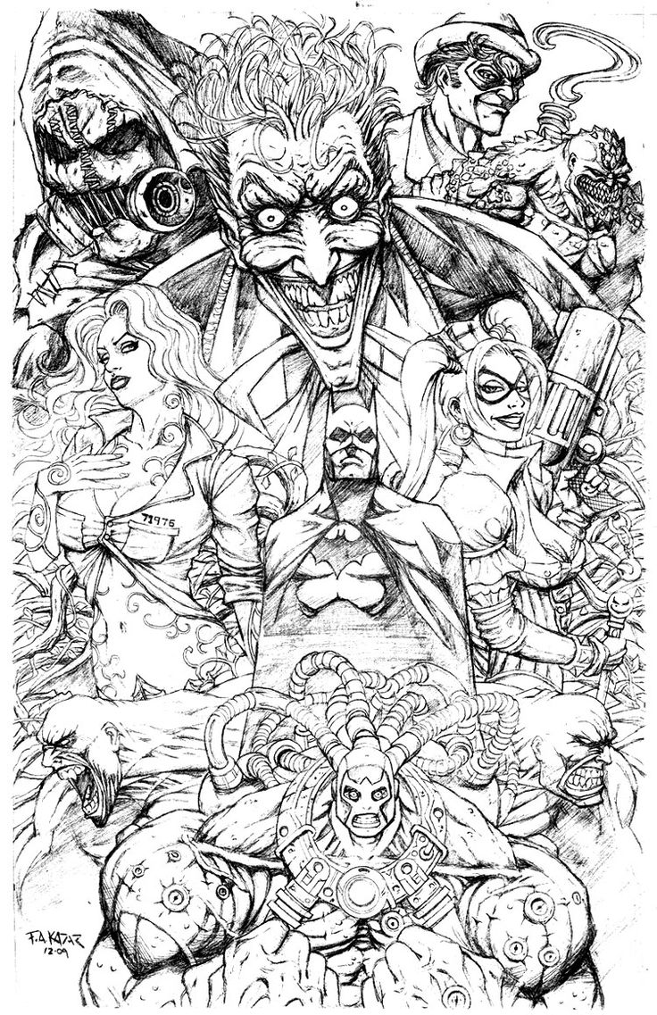 Spiderman and batman coloring pages - Batman Coloring Pages Villians