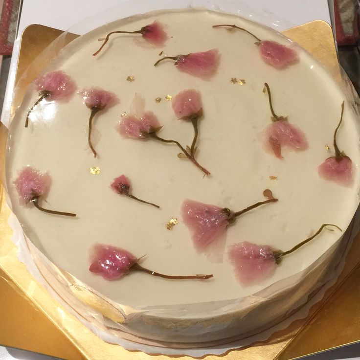 Sakura and strawberry mousse cake