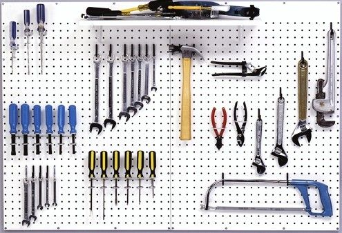 Peg borad for storing tools. Easy and organized